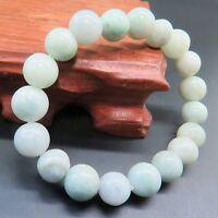 Natural Grade A Jade (jadeite) 10mm Smooth Bead Bracelet Good Luck