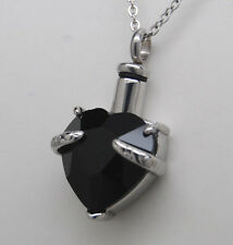 Black Heart Urn Necklace Cremation Jewelry Memorial Ash Pendant Keepsake Ashes