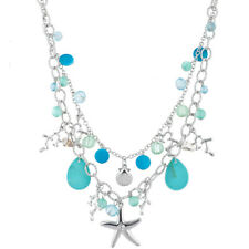 Lux Accessories Silver Tone Blue Beaded Nautical Sea Double Row Charm Necklace
