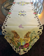 Easter & Spring Decor Table Runner Vintage Style Easter Bunny Easter Egg Runner