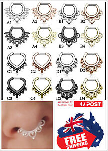 Tribal Copper 16g 1.2mm Septum Nose Clicker Stud Ring Piercing Titanium Plated