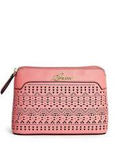 NEW GUESS CORAL PINK SAFFIANO FAUX LEATHER LASER CUT,ZIP,GOLD,COSMETIC+MAKE UP