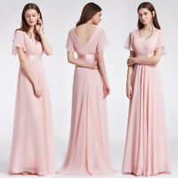 Ever-pretty US Plus Size V-neck Bridesmaid Dresses Long Pink Party Gowns 09890