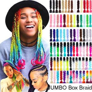 "High Quality Jumbo Braiding Hair Extensions 24"" Afro Box Braids Ombre Rainbow AU"