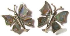 Butterfly Earrings Mexico Screwback Early Mexican Sterling Inlaid Abalone