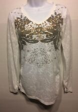 Sz M CAbi 174 White Paisley Thermal Ruched Burnout Graphic L/S Top Blouse Shirt