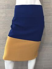 LuLaRoe Cassie Skirt Sz XL Navy Blue Mustard Color Block Pencil Skirt