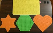 Perler Beads Pegboard Template 4 piece Mixed Lot Alphabet Heart Star Hexagon