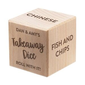 Personalised Custom Wooden Dice Any Occasion Message All Sides Takeaway Birthday