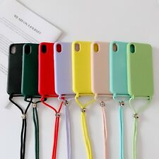 New Hot Simple Crossbody Lanyard Soft Silicone For Apple iphone Phone Case Cover