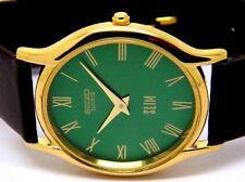 seiko quartz super slim men's gold plated green dial japan made watch run order
