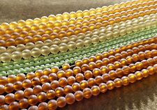 MIXED LOT ROUND FROSTED GLASS BEAD (14) STRANDS  4MM 6MM 8MM  FREE SHIPPING