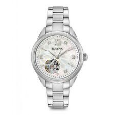 Bulova Women's Diamond Automatic White Open Heart Mother of Pearl Watch 96P181
