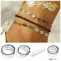Cute Leaf Star Ankle Bracelet Women Anklet Adjustable Chain Foot Beach Jewelry