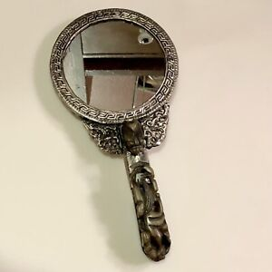 silvered Chinese hand mirror — cabochons, carved jade, belt buckle handle