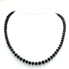 Necklace natural black onyx round beaded gemstone 925 solid sterling silver 26gm