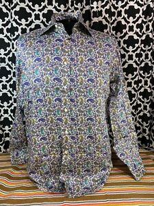 ETRO White Paisley Multicolor Dress Shirt - Sz. 41