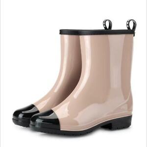 Women Ankle Rain Boots Waterproof PVC Rubber Antiskid Garden Work Outdoor Shoes
