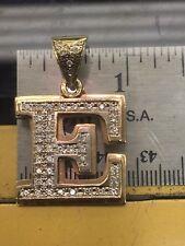 10k Yellow Gold Diamond 3d Initial Letter E Charm Pendant