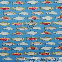 BonEful Fabric FQ Cotton Quilt Blue Yellow Gold Red White FISH Sea Ocean Stripe