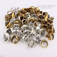 Wholesale Lots Mixed Skull Gold/Silver Men's Rings Jewelry Biker Punk Ring