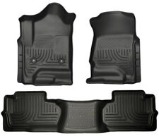 Husky Liners for 2014-2017 Chevy Silverado Double Cab Black Weather Floor Mats