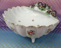 Vintage Sea Shell Porcelain Ceramic Bowl Dish Floral Footed Shabby Pretty