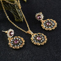Woman Gold Plated Crystal Pendant Chain Necklace Earrings Jewelry Sets