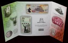 Mexico SET,100 &200 Pesos, 2010,In folder, Independence & Revolution Anniv.UNCIR