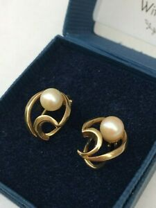 Vintage 9ct Gold Cultured Round Pearl 5mm Clip-on Earrings Hallmarked Imported