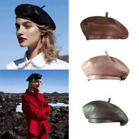 Womens PU Leather Beret Hat  French Retro Beret Hats Holiday Gift for Girls