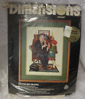 """Vintage 1981 Dimensions Crewel Kit Norman Rockwell """"Doctor and the Doll""""  NEW"""