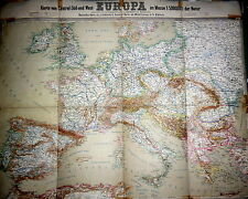 Europe, Map of Central and South Europe before Wwi by J.Schlacher, 1900`s
