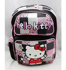 """NWT Hello Kitty 16"""" Large Backpack Bag Black Pink Newest Style Licensed Sanrio"""