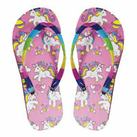 Girls Flip Flops Unicorn Summer Kids Sandals Pool Beach UK 10-11, 12-13, 1-2