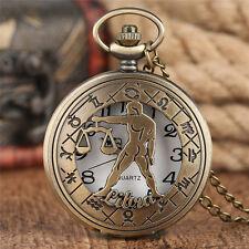 Zodiac Libra creuse Steampunk Constellation Montre de Poche Collier Hommes Femmes