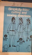 Vtg Simplicity JIffy pattern 8997 Girls' front zip up Dress size 8 uncut