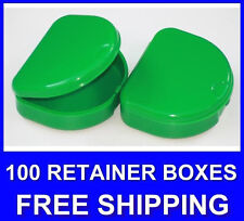 100 Green Denture Retainer Box Orthodontic Dental Case Mouth Ortho Brace Teeth.