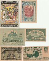 Vintage Group Lot of UNC/AU German Notgeld Banknotes