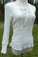 0727c778708 AMBIANCE Top Womens M White 3/4 Crinkled Boho Lace at Front Scoop Neck Hi
