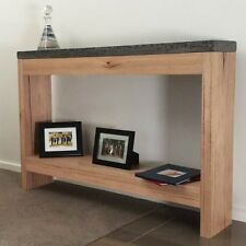 Hardwood Ash hall stand console table, sideboard charcoal polished concrete top