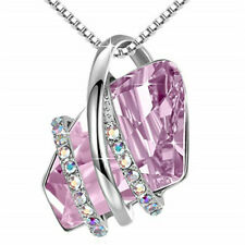 Ladies Fashion 925 Silver Plated Pink Crystal White Zircon Necklace Jewelry Gift