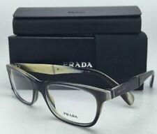 New PRADA Eyeglasses VPR 14P EAQ-1O1 53-17 Black-Grey Frame w/ Horn w/Clear Demo