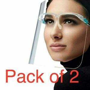 2 Full Face Shield Visor Glasses Guard Protection Safety Covering Clear Anti Fog