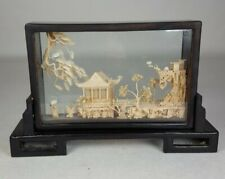 More details for vintage chinese lacquered cork carved diorama