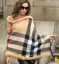 Women's Scarves 100% Real rabbit Fur inlay Cape Stole Shawl Scarf Wrap Nice !