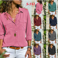 T-shirt Women's Clothing Long Sleeve Top Casual Button Blouse Lapel Pink S-5XL