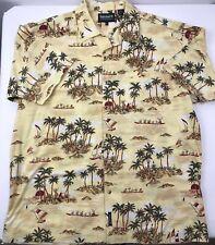 Timberland Hawaiian Shirt Aloha Short Sleeve Tropical Hula Girls Yellow Men's XL