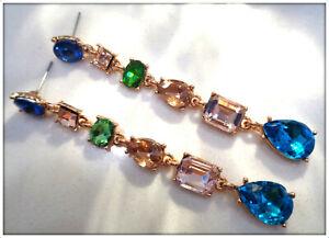 14K gold over Vintage style long Stunning Multicolor Gemstone Drop Earrings