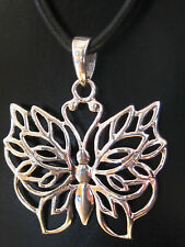 Schmetterling 925'er Silber Ketten Anhänger mit Stoffband  / KA 330